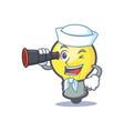 sailor light bulb character cartoon with binocular vector image vector image