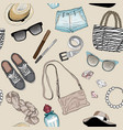 seamless pattern fashion accessories set vector image vector image