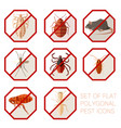 set flat polygonal signs pest icons vector image