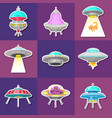 set ufo stickers alien spaceships vector image vector image