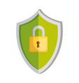 shield with padlock security vector image