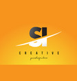 si s i letter modern logo design with yellow vector image vector image