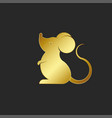 silhouette cartoon golden rat logo or mouse vector image