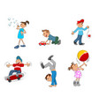 six playing kids vector image
