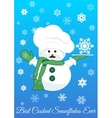 Snowman with silver tray holding snowflake vector image vector image