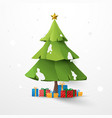 star decoration and christmas tree with gift vector image