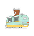 street food cafeteria truck in vector image vector image