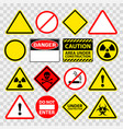 warning danger under construction sings icons set vector image vector image