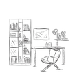 Workplace sketch in office or home vector image vector image