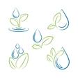 Water drop and leaf symbol set vector image