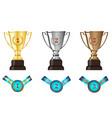 winners awards trophy medal sets vector image