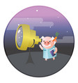 a funny pig astronomer with telescope vector image