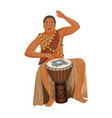 african man in ethnic clothing plays wooden djembe vector image vector image