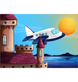 An airplane near the castle vector image vector image