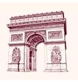 arch triumph paris hand drawn vector image