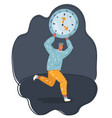 big clock on shoulder of run tiny man vector image