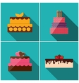 Birthday Cake Flat Icon Set with Long Shadow for vector image