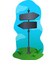 black signpost with two arrows vector image vector image