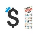 Business Crown Icon With 2017 Year Bonus Symbols vector image vector image