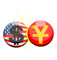 buttons with flags of united states and china vector image