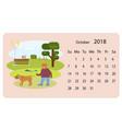 calendar 2018 for oktober vector image