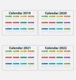 calendar 2019 2020 2021 vector image vector image