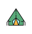 camping tent travel pavilion flat color vector image