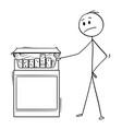 cartoon of man looking at big box of cigarettes vector image