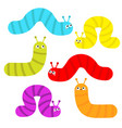 caterpillar set insect icon cute crawling bug vector image vector image