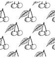 cherries seamless pattern black hand drawn vector image vector image