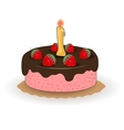chocolate cake with a candle and strawberries vector image