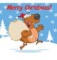 Christmas bear cartoon vector image vector image
