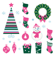christmas cartoon icons vector image vector image