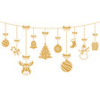 christmas golden ornaments hanging merry vector image vector image