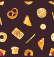 colored seamless pattern with tasty fresh baked vector image