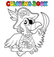 coloring book with pirate parrot vector image