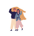 couple together under raincoat flat vector image vector image