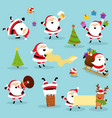 cute santa collection vector image vector image