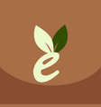 e letter eco logo safe leaf icon vector image