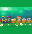 easter eggs and bunny in the train vector image vector image
