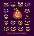 fun pumpkin smiles designer of vector image