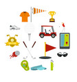 golf items icons set in flat style vector image vector image