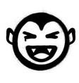 graffiti smiling vampire icon in black over white vector image