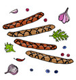 grilled bavarian or american sausages with chili vector image vector image