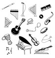 hand drawn sketch of music instruments vector image vector image