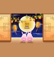 happy chuseok mid autumn festival rabbits moon vector image
