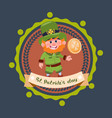 happy st patricks day icon with leprechaun in vector image