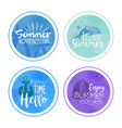 hello summertime summer adventure lables set hand vector image vector image