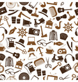 hipster theme and culture set of icons in seamless vector image vector image