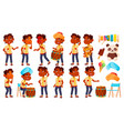 indian boy kindergarten kid poses set vector image vector image